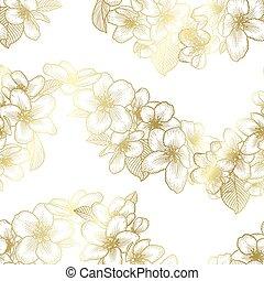 Golden seamless floral pattern, botanical vector background illustration