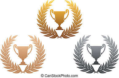 Golden, silver and bronze laurel wreaths with trophy for sports design
