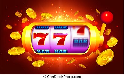 Golden Slot Machine with Moving Icons Vector