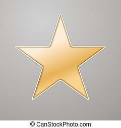 golden star background cut out in grey paper