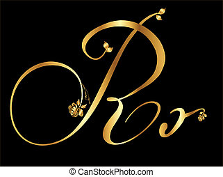Golden vector letter R with roses (collection)