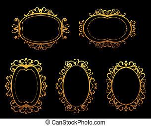 Golden vintage frames and borders
