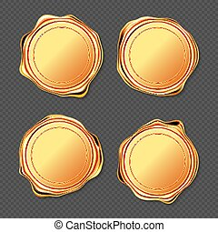 Golden wax seal stamp approval sealing vector set