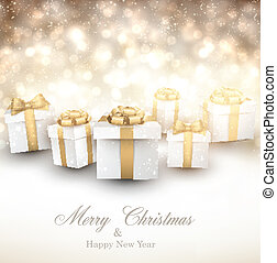 Golden winter background with christmas gifts.