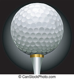 golf ball on gold tee