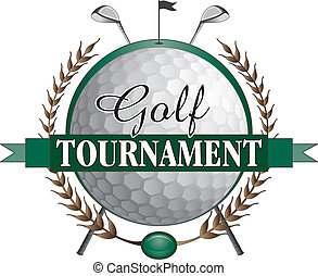 Illustration of a golf tournament design. Contains golf clubs and golf ball and a green background with flag and hole.