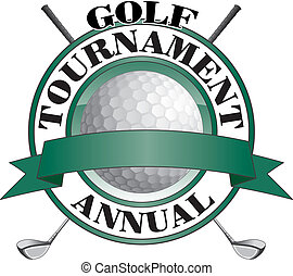 Illustration of an annual golf tournament design. Contains golf clubs and golf ball and a green background and banner for your text.
