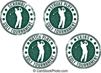 Collection of distressed golf tournament stamps.