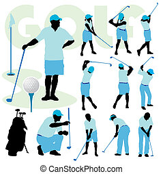 Set of golfing people silhouette on a golf course.