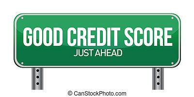 good credit scores just ahead illustration design over white