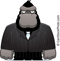 A cartoon gorilla dressed in a suit and tie.