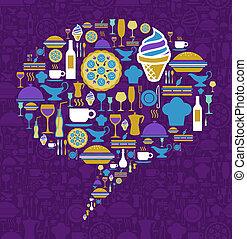 Gourmet icon set in dialogue bubble shape