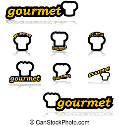 Icon set showing a chef's hat combined with different variations of the word gourmet