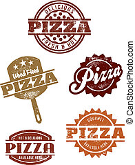A selection of vintage style distressed pizza icons and sign graphics.