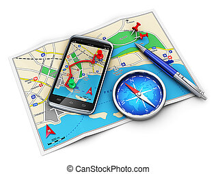Mobile GPS navigation, travel and tourism concept: modern black glossy touchscreen smartphone with GPS navigation application, magnetic compass, pen and group of pushpins on city map isolated on white background Design is my own and all text labels and numbers are fully abstract