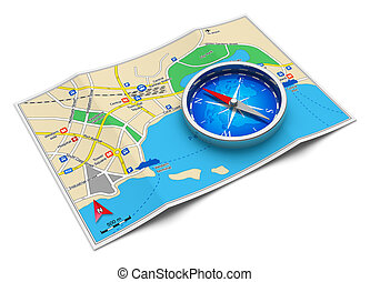 GPS navigation, tourism and travel route planning concept: color city map and blue magnetic compass icon isolated on white background Design of map is my own and all names are fully abstract