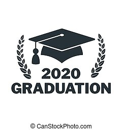 Graduate cap black logo with laurel wreath, branch. University mortarboard. Badge for banner, poster or flyer. Graduation party. Congratulation with Scientific degree, academic title. Flat vector.