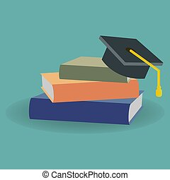 Stack of books with a graduate cap