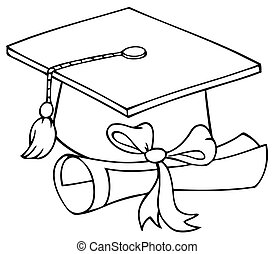 Outlined Graduation Cap And Diploma