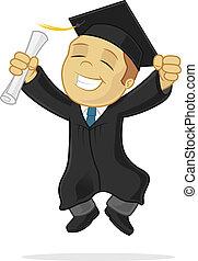 Happy graduate celebrating vector cartoon illustration
