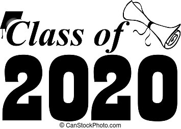 Class of 2020 Banner with Cap and Diploma