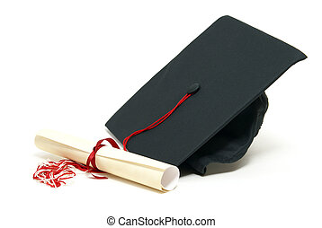 A diploma certificate alongside a grad hat to celebrate the students success.