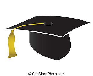 Graduation cap and diploma isolated on white background.