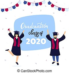 Graduation ceremony. Class of 2020. Greeting banner. Graduates celebrate completion of studies