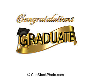 gold and black digital art with 3D gold text Congratulations Graduate for graduation greeting card or background with cap and scroll
