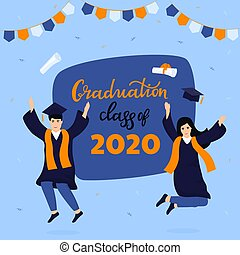 Graduation party. Class of 2020. Greeting banner. Graduates celebrate completion of studies
