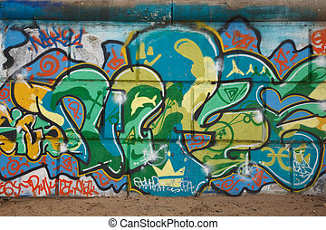 Graffiti on concrete wall. Personal expression is new generation.