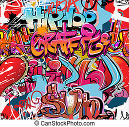 Graffiti wall vector urban hip hop background