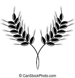 Grain ears - black vector illustration