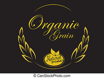 grain organic with black background. concept vector illustration