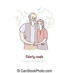 Grandfather and grandmother standing together, elderly couple hugging, old married pair, happy retirement banner