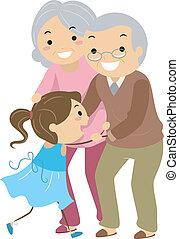 Illustration of Stickman Grandparent Couples with their Grandchild