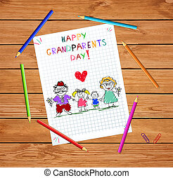 Grandparents day children colorful hand drawn vector illustration of grandparends and kids