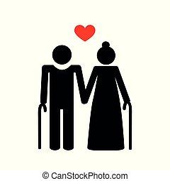 grandparents old couple pictogram