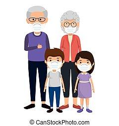 grandparents with grandchildren using face mask vector illustration design