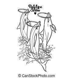 Graphic dolphins whirling hoops on their noses. Summer water performance. Sea and ocean vector creatures in black and white colors. Vector isolated art. Coloring book page design