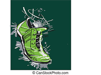 Great hand drawing of Running shoe, vector, action, very graphic