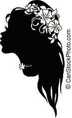 Graphic silhouette of a art deco woman
