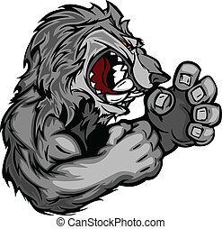 Coyote or Wolf Fighting Mascot Body Vector Illustration