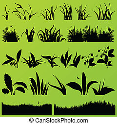 Grass and plants detailed silhouettes illustration collection background vector