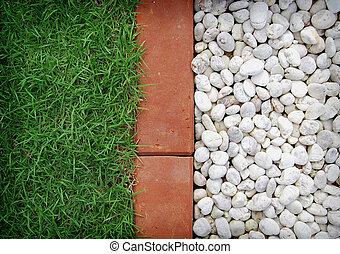 grass field, brick, white stone