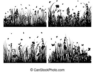 Vector grass silhouettes backgrounds set for design use