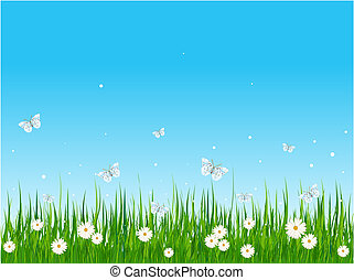 Seamless illustration of grassy field and butterflies