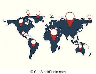 Gray world map on white background. vector illustration
