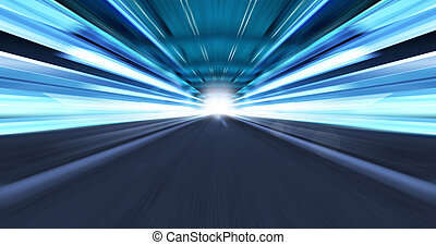 Greased light on high-speed highway of night city