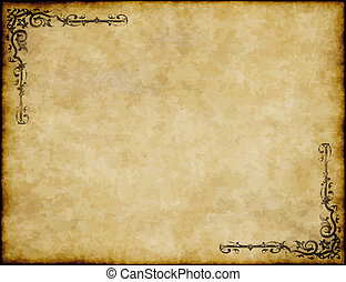 great background of old parchment paper texture with ornate design